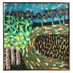 Midcentury Landscape Oil Painting by H. Waldman