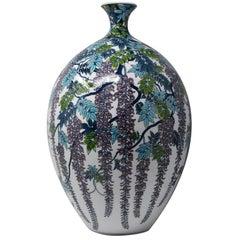 Large Japanese Blue Purple Contemporary Imari Ceramic Vase by Master Artist