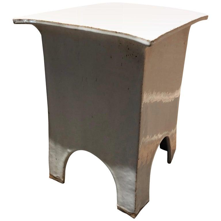Vintage Tariki Studio Ceramic Stool End Table For Sale