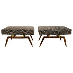 Pair of Bronze and Walnut Mid-Century Modern Footstools or Window Bench