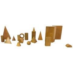 Set of Vintage Wooden Geometric Shapes