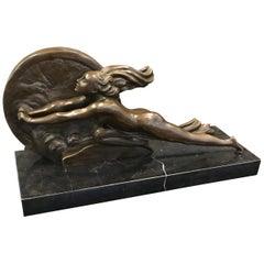 """Art Deco Sculpture """"Towards Destiny"""" Signed A. Gennarelli"""