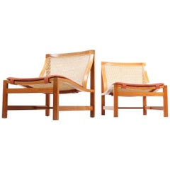 Pair of Mid Century Danish Lounge Chairs by in Mahogany and Patinated Leather