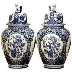 Pair of Mid-20th Century Dutch Blue and White Faience Delft Ginger Jars