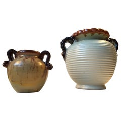 Danish Art Deco Pottery Vases by Knabstrup, 1930s, Set of 2