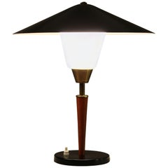 Danish Modern Teak, Brass and Opaline Glass Table Lamp by Fog & Morup