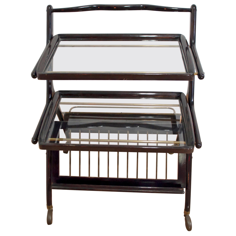 Cesare Lacca Mid-Century Modern Italian Mahogany Bar Cart for Cassina, 1950s