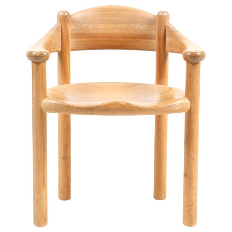 Set of Four Scandinavian Dining Chairs in Pine by Rainer Daumiller For Sale