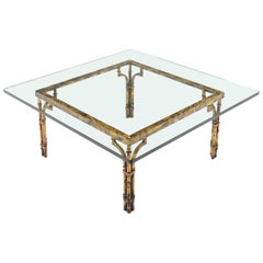 Faux Bamboo Gold Gilt Frame Square Glass Top Coffee Table
