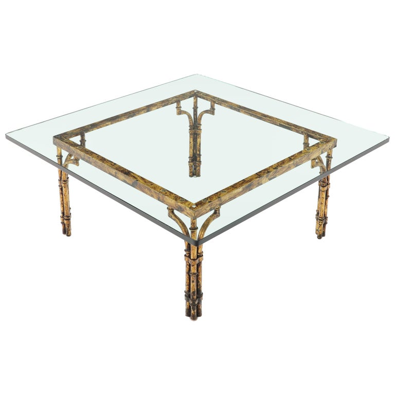 Faux Bamboo Gold Gilt Frame Square Gl Top Coffee Table