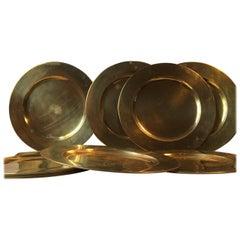 Vintage Danish Brass Plates by Stelton, 1970s, Set of Ten