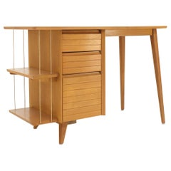 Light Birch Single Pedestal Petit Desk with Bookcase and Three Drawers
