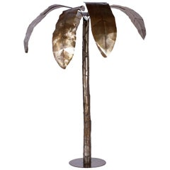 Large Midcentury Patinated Metal Palm Tree