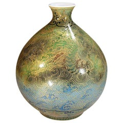 Japanese Large Contemporary Green Blue Gilded Ceramic Vase by Master Artist