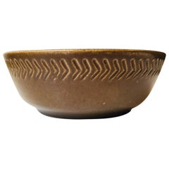 Swedish Modern Pottery Dish with Geometric Decor by Yngve Blixt, Hoganas