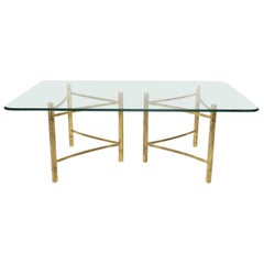 Mastercraft Large Glass Top Double Brass Pedestal Dining Conference Table Huge