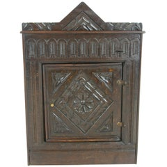 Antique Corner Cabinet, Hanging Wall Cabinet, Victorian Entryway Furniture