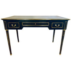 Ebony Hollywood Regency Bronze Mounted Writing Table or Desk
