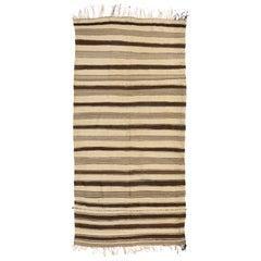 Vintage Berber Moroccan Kilim Rug with Stripes, MCM Striped Kilim Rug