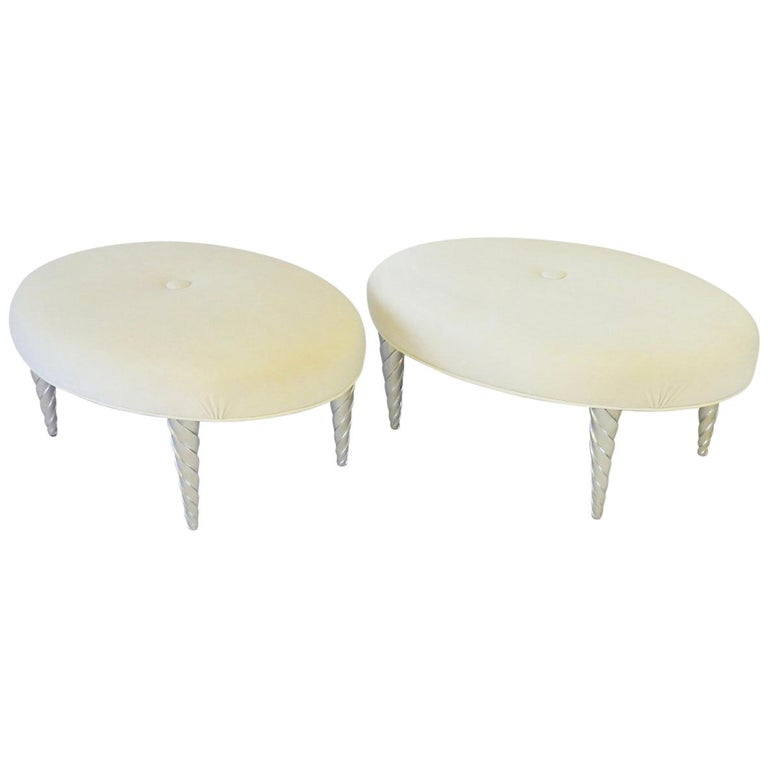 John Hutton for Donghia Ultra Suede Covered Ottomans with Silver Leaf Legs For Sale
