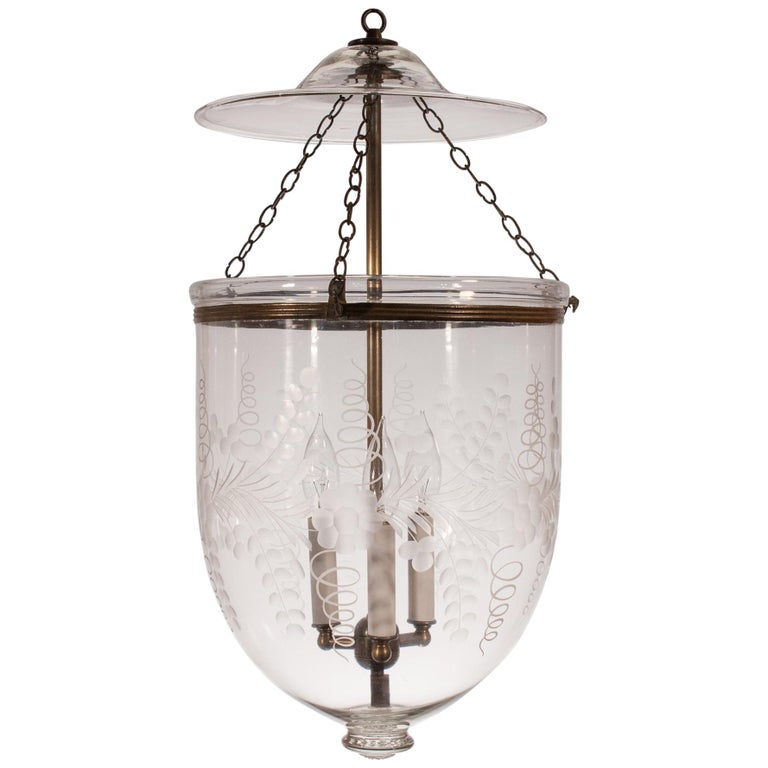 Antique Bell Jar Lantern with Floral Etching For Sale