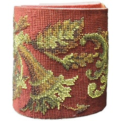 Vintage Victorian Red and Gold Glass Beaded Needlework Tapestry Sash