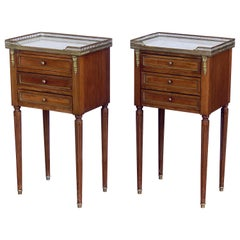 Mahogany Nightstands or Side Tables with Marble Tops 'Individually Priced'