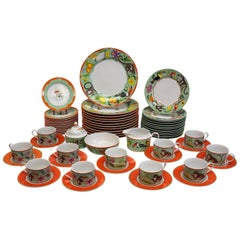 Lynn Chase Fine China Porcelain 7-Piece Dinner Service for 12 in Monkey Business