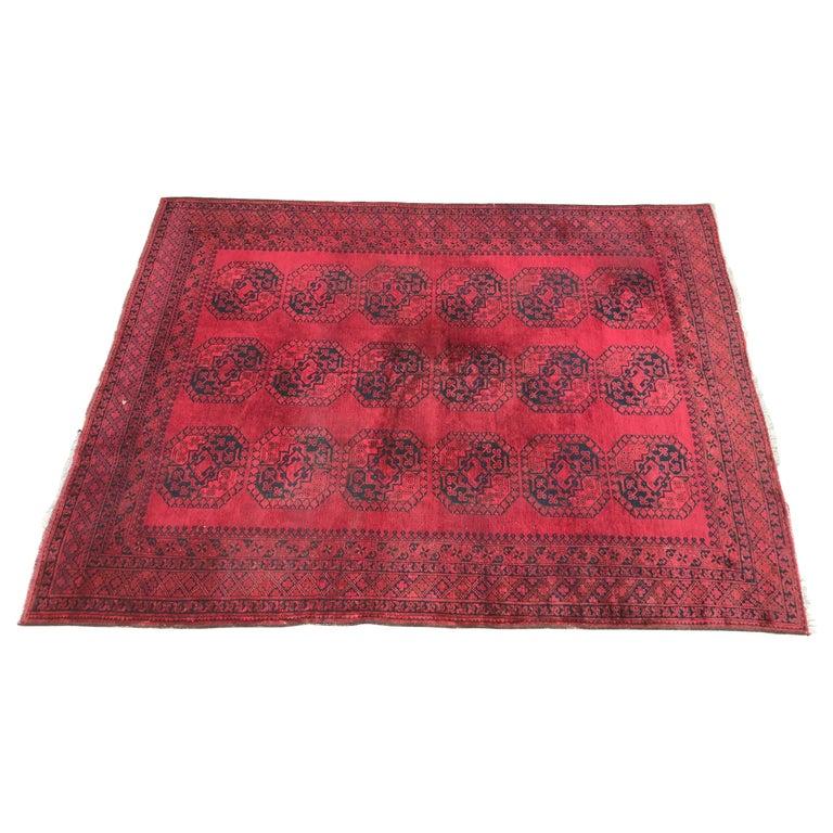 Large Vintage Afghan Red Rug For Sale At 1stdibs