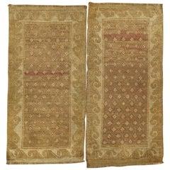 Pair of Vintage Turkish Rugs in Brown and Pink