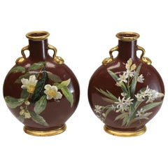 Pair of Minton Porcelain Moon Flasks by William Mussill, 1871