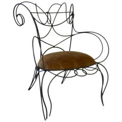 Andre Dubreil Sculptural Iron Ram Chair for Ceccotti Collezioni