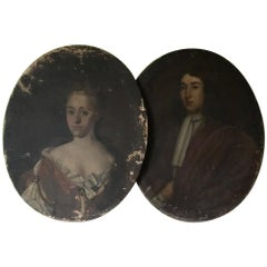 Pair of English, Early 18th Century, Oil on Canvas, Pendant Portraits