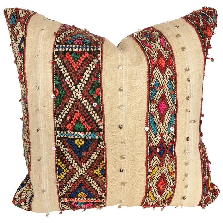 Custom Pillow by Maison Suzanne Cut from a Vintage Wool Moroccan Berber Blanket For Sale
