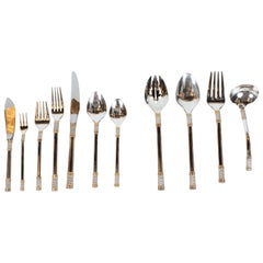 "Mid-Century ""Aegean Wave"" Sterling & 24kt Gold Flatware Set for 8 by Wallace"