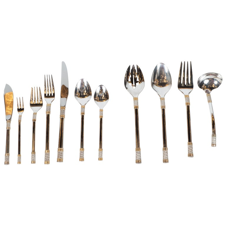 """Mid-Century """"Aegean Wave"""" Sterling & 24kt Gold Flatware Set for 8 by Wallace For Sale"""