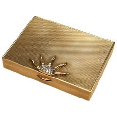 Cartier 14-Karat Gold and .75-Carat Diamond Compact Powder Box, circa 1940