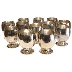 12 Buccellati Sterling Silver Brandy Sniffers Goblets Hand Hammered, c1969.