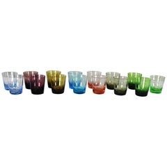 Set of 15 Multi-Color Old Fashioned Glass Cocktail Tumblers