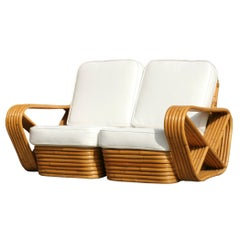 Restored Paul Frankl Six-Strand Square Pretzel Stacked Rattan Loveseat