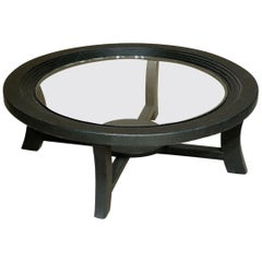 Paul Frankl Black Stepped Coffee Table for Brown Saltman