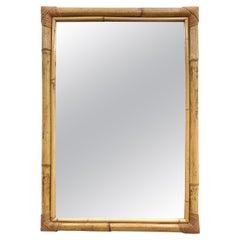 Rectangular Mirror with Bamboo Wicker Woven Frame from the 1970s, Italy