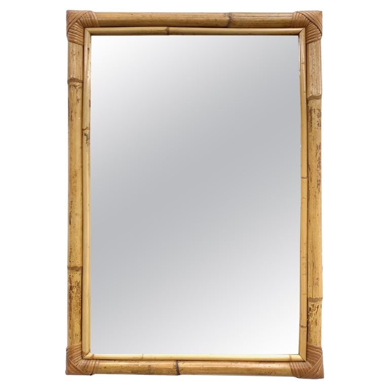 Rectangular Mirror With Bamboo Wicker Woven Frame From The
