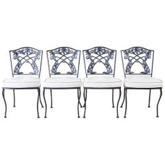 Set of Four Neoclassical Style Iron Garden Patio Chairs