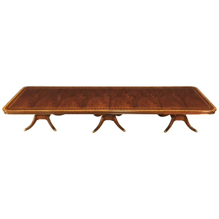 Custom Large 16 ft. Mahogany Banquet Dining Table by Leighton Hall For Sale