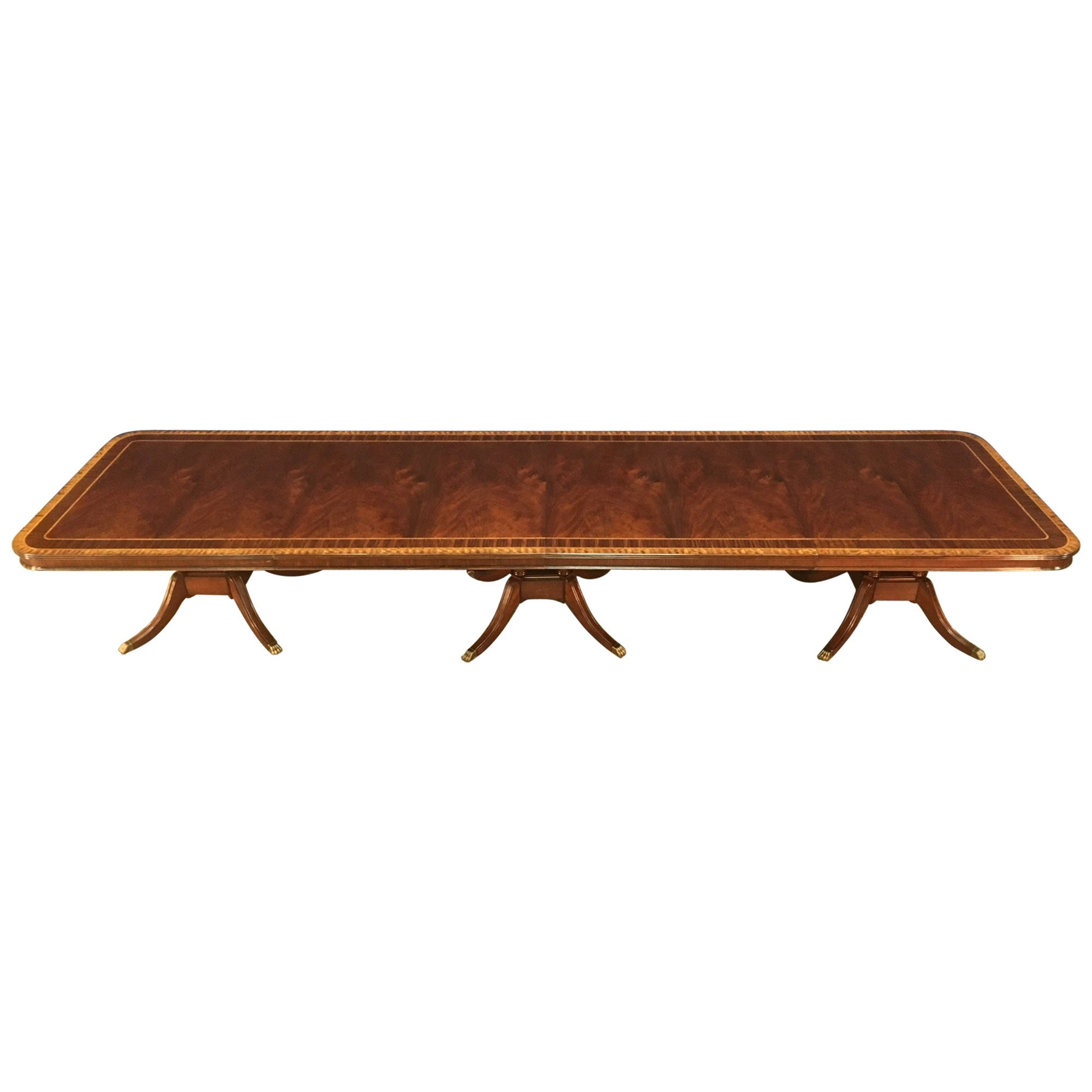 Custom Large 16 ft. Mahogany Banquet Dining Table by Leighton Hall