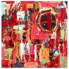 """William P. Montgomery Abstract Mixed Media Painting """"Rocket Science #4"""" on Wood"""