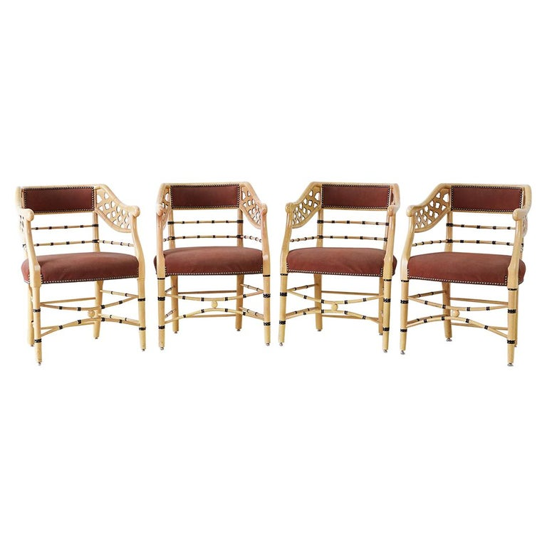 Set of Four Faux-Bamboo Lacquered Lounge Chairs For Sale