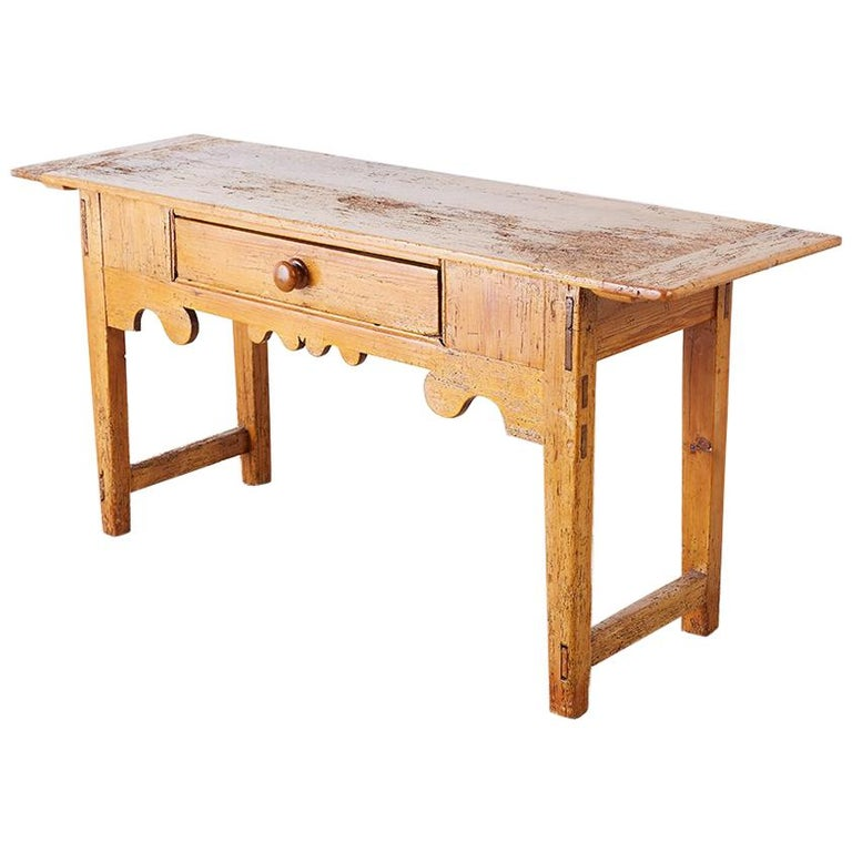 18th Century Rustic Pine Farmhouse Table or Console For Sale at 1stdibs