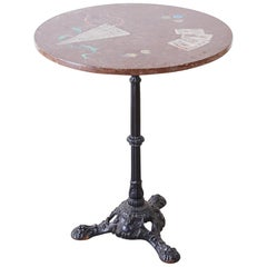 French Trompe L'oeil Marble Granite Inset Bistro Table